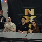 """Bryan """"Bryman"""" Peacock at an NXT show with Aiden English and Simon Gotch of the Vaudevillains and Becky Lynch"""
