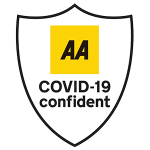 Image of AA logo Covid 19 confident scheme, the yellow AA logo on a white shield