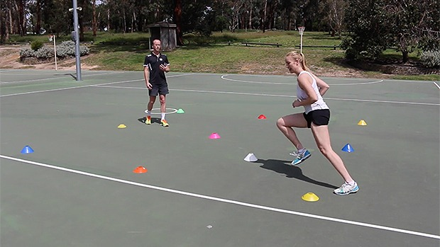Netball drill coaching footwork conework