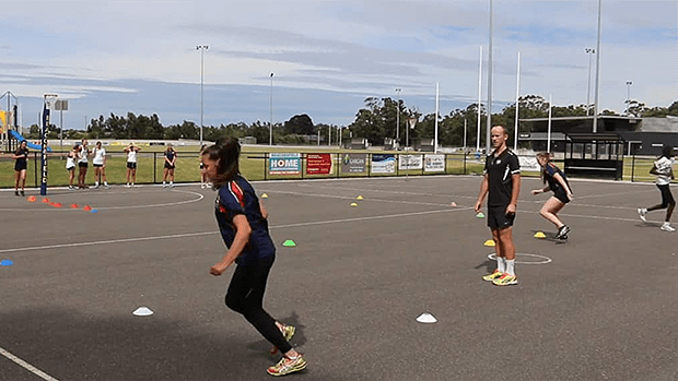 Footwork cone course netball coaching drill