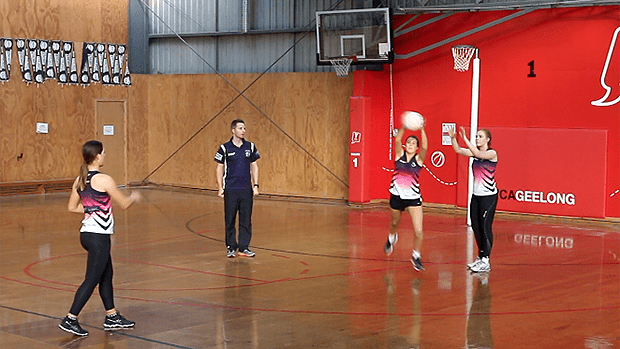 Netball coaching drill creating intercept defence