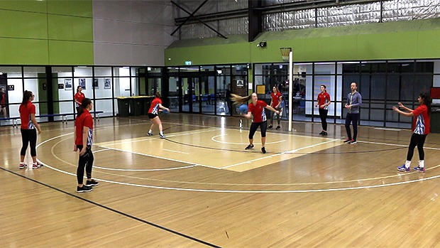 Netball coaching drill cross drop roll team