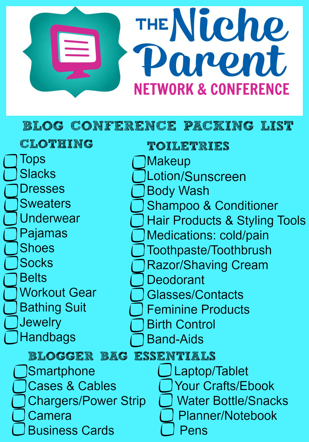 Blog Conference Packing List