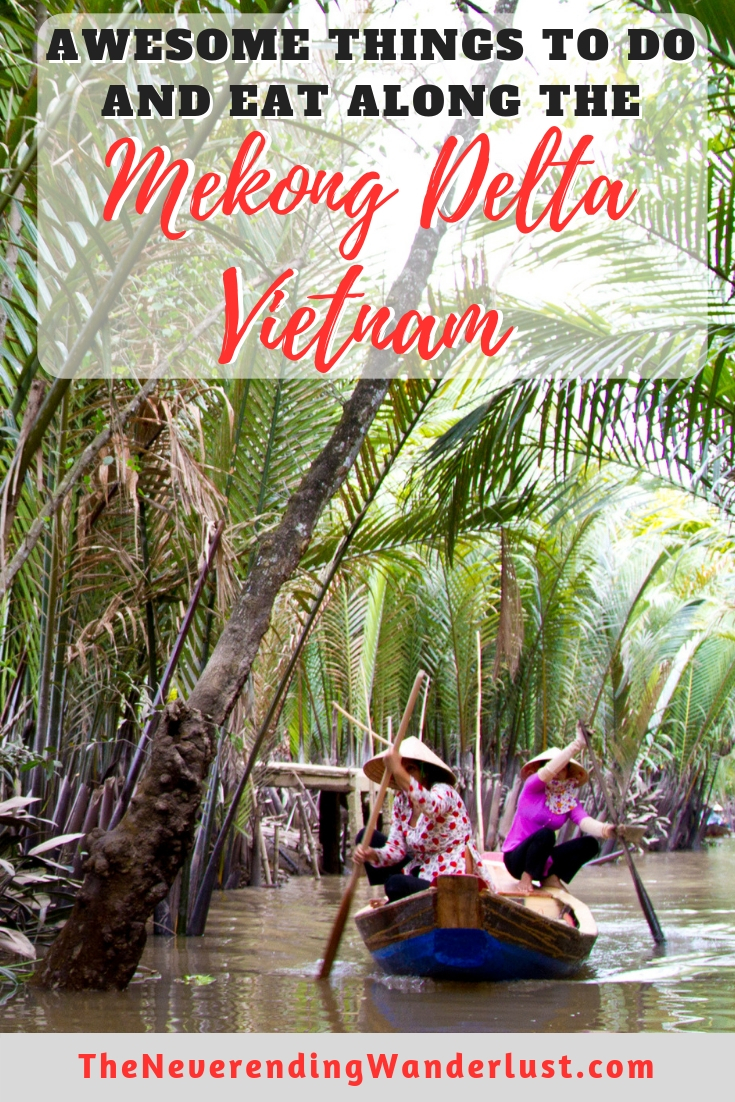Planning a trip to Vietnam? Click here to read all about what to see along the Mekong Delta, where to go along the Mekong Delta, and what to eat along the Mekong Delta. Definitely make sure you visit Can Tho, Chau Doc and My Tho so you can experience all the Mekong Delta has to offer! #vietnam #mekongdelta #floatingmarkets