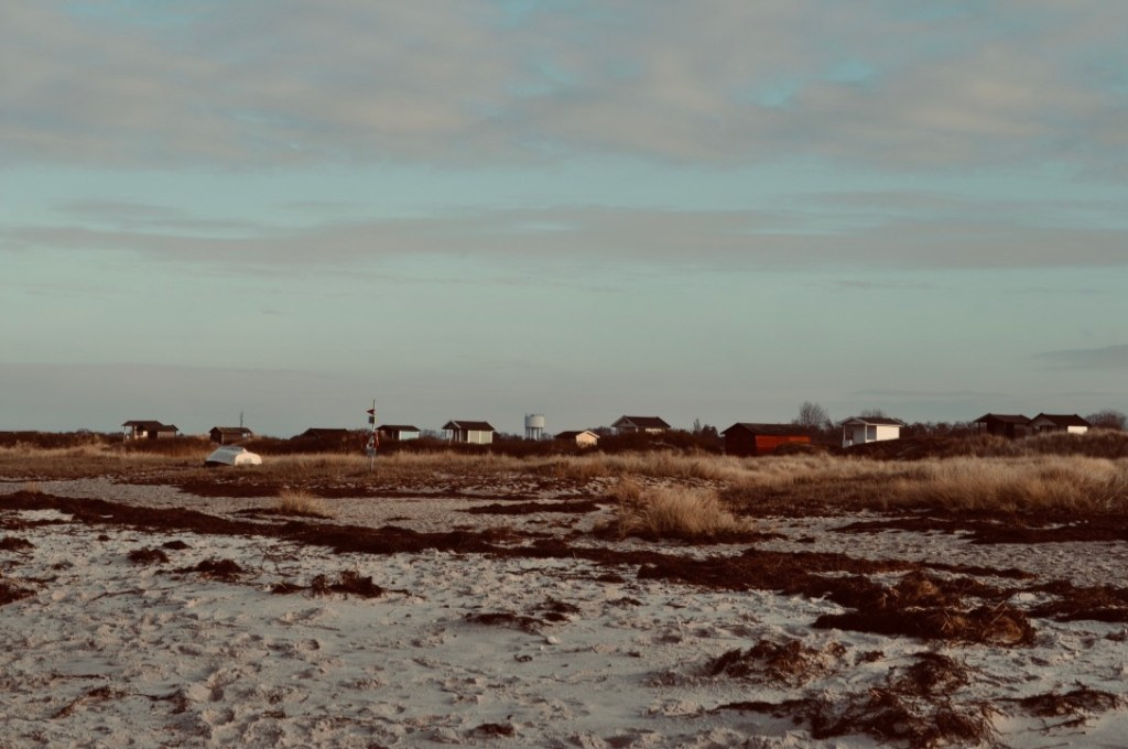 Sandy beach with with houses