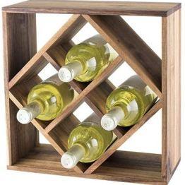 Acacia Wood Lattice Wine Rack by Twine