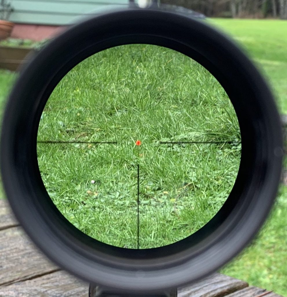 6x aimed at grass 10 feet away. Look at the picture quality, the glass on this optic is amazing!