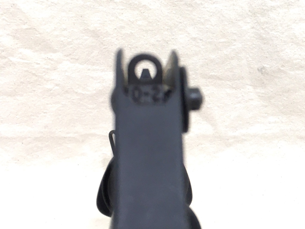 A1 upper sight picture with sideways glock rear sight used as a front sight.