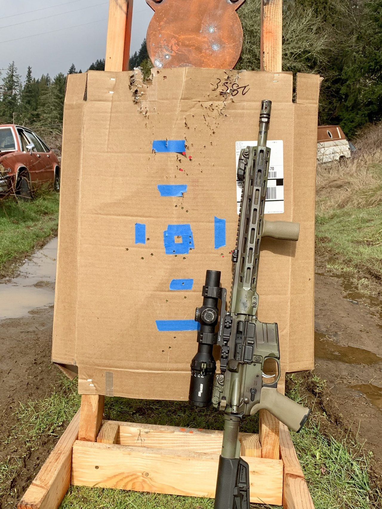 Tango6T tracking test I made the mistake of shooting my steel target before taking the picture. Sorry guys.