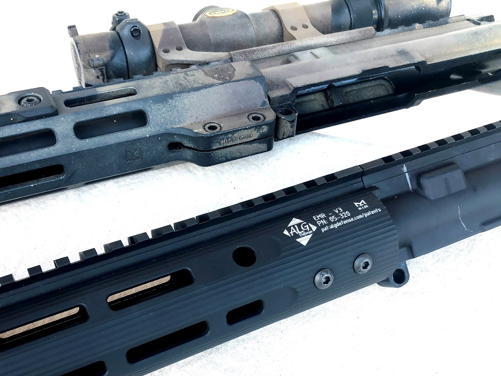 A clamp-on handguard above and the EMR direct bolt-on below. The EMR design is stronger and puts less stress on the handguard.