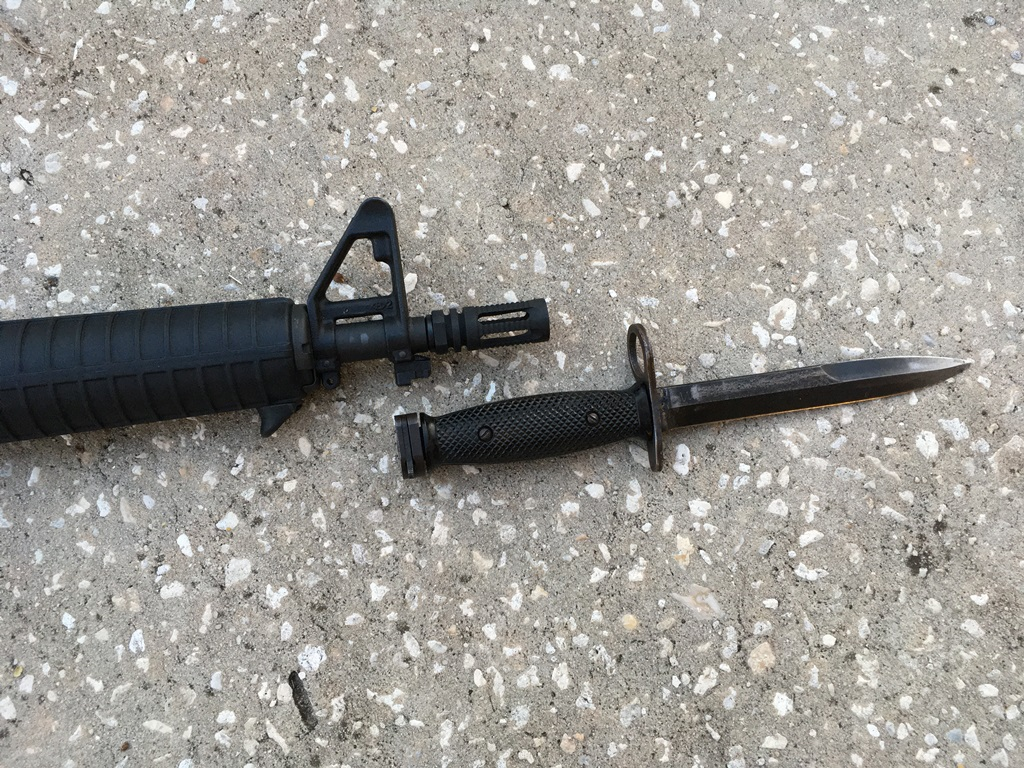 "A problem gun: how do you mount a bayonet to a 10.5"" barrel. It has the lug, so it's possible..."