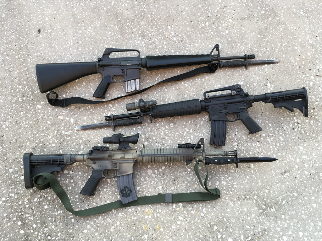 "An AR/M16 bayonet will properly fit the 20"" rifle (top), 16"" midlength (middle), 14.5"" carbine (not shown) and a 14.5"" midlength with an extended flash hider (bottom)"