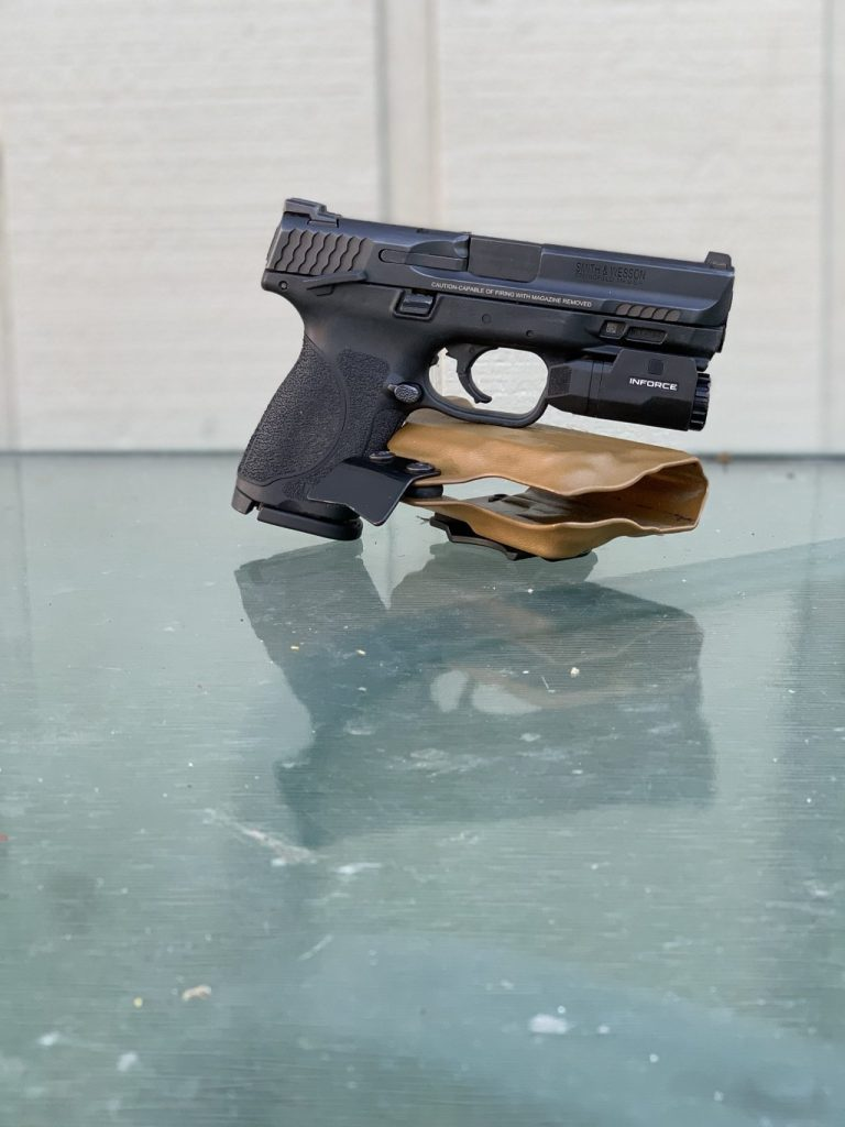 M&P 2.0 compact with Inforce APLc light on a TRex arms Raptor holster.