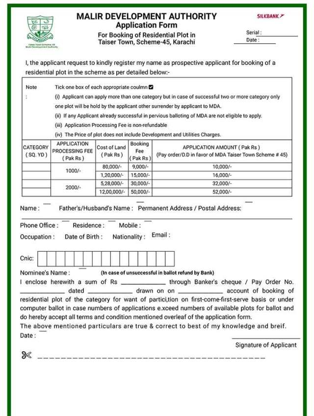Here's how to apply for Taiser Town, Scheme-45 application form