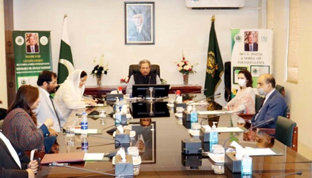 Federal Minister for Education, Professional Training and National Heritage, Shafqat Mahmood chairing the meeting of Inter Board Committee of Chairmen (IBCC) in Islamabad on Tuesday, July 06, 2021. — PPI