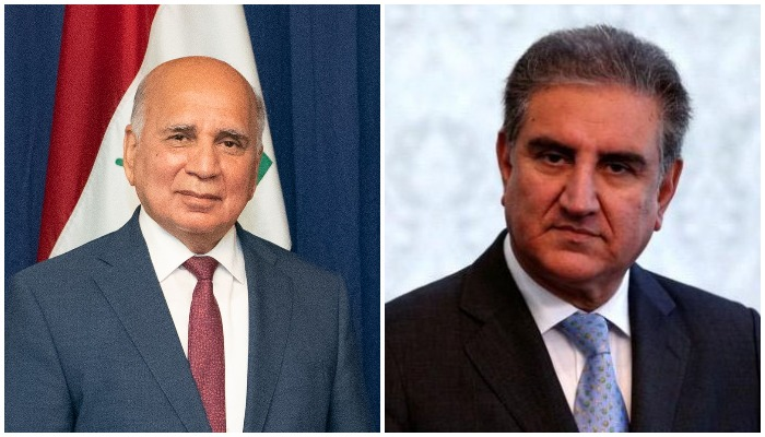 Foreign Minister of Iraq Dr Fuad Hussein (L) and Foreign Minister of Pakistan Makhdoom Shah Mahmood Qureshi (R). Photos: File.
