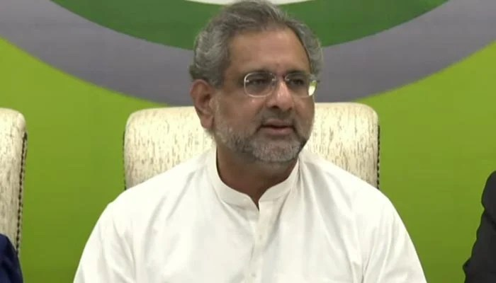 Former prime minister and PML-N leader Shahid Khaqan Abbasi addressing a press conference in Islamabad on the governments anti-state trends report, on August 13, 2021. — YouTube/HumNewsLive