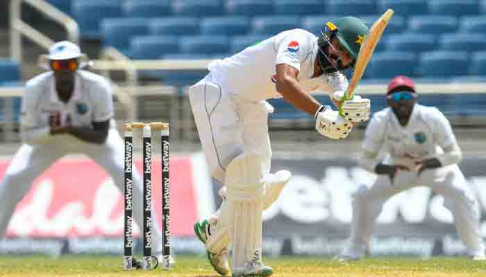 Fawad Alam of Pakistan hits 4 during day 3 of the 2nd Test between West Indies and Pakistan at Sabina Park, Kingston, Jamaica, on August 22, 2021.-AFP