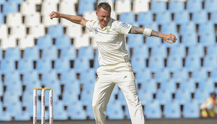 In this file photo taken on December 27, 2018 South Africas Dale Steyn (C) celebrates as he gets the wicket of Pakistans Asad Shafiq on day two of the cricket test match between South Africa and Pakistan at SuperSport Park cricket stadium in Pretoria. — AFP/File