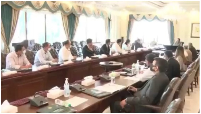 Screengrab from the video of PM Imran Khans meeting with the Chinese delegation, shared by PMs Office on Twitter.