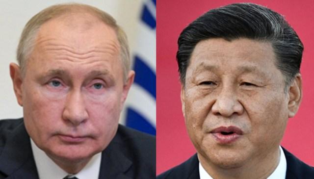 روسی صدر ولادیمیر پیوٹن 17 ستمبر 2021 (بائیں) اور ماسکو کے باہر نوو اوگیریوو ریاستی رہائش گاہ پر ویڈیو لنک کے ذریعے دوشنبے میں منعقدہ شنگھائی تعاون تنظیم (ایس سی او) سربراہی اجلاس میں رکن ممالک کے سربراہان کی میٹنگ میں شریک ہوئے۔ صدر شی جن پنگ (ر) 18 دسمبر 2019 کو مکاؤ کے بین الاقوامی ہوائی اڈے پر خطاب کر رہے ہیں۔