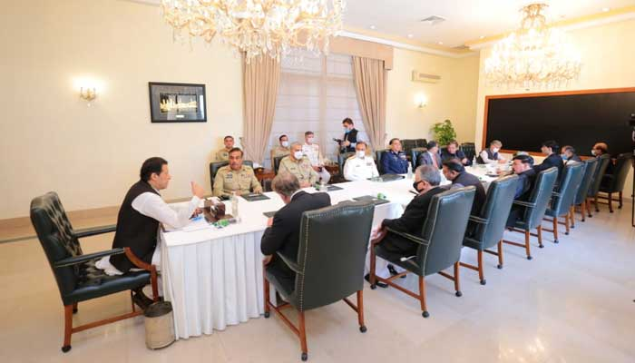 Prime Minister Imran Khan chairing the 34th National Security Committee meeting at the Prime Ministers House, in Islamabad, on October 8, 2021. — Photo courtesy Prime Ministers Office