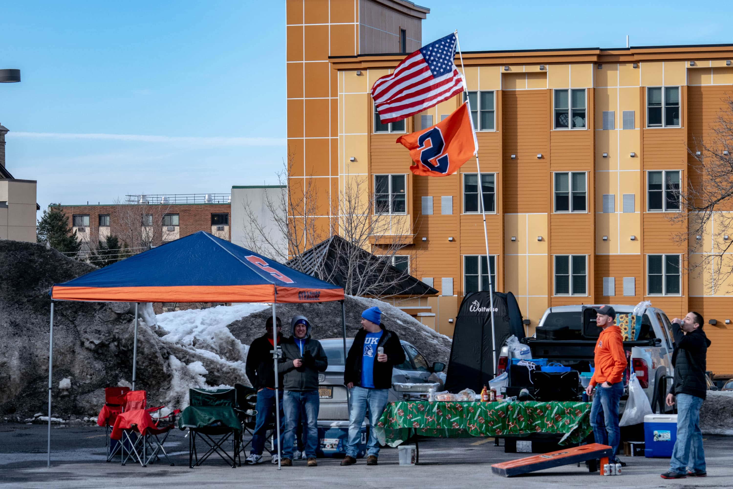 Syracuse and Duke's fierce rivalry and mild winter weather brought fans together for tailgate along East Adams Street prior to the game.