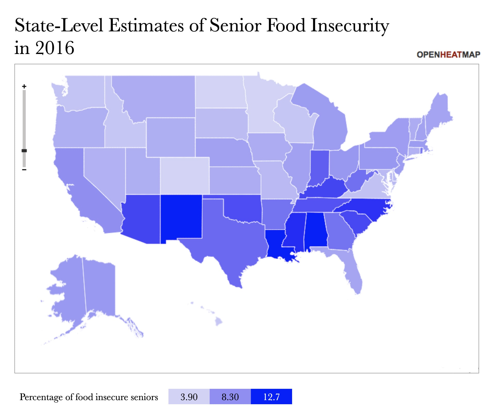 State estimates for Senior Food Insecurity rates in 2016