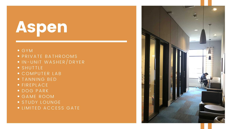Aspen amenities breakdown.