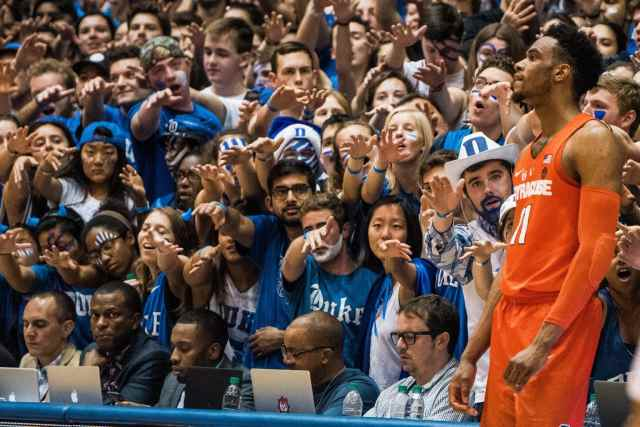 SU player in front of Duke crowd