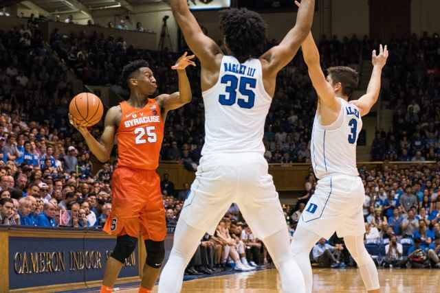 Players during Duke v. SU game