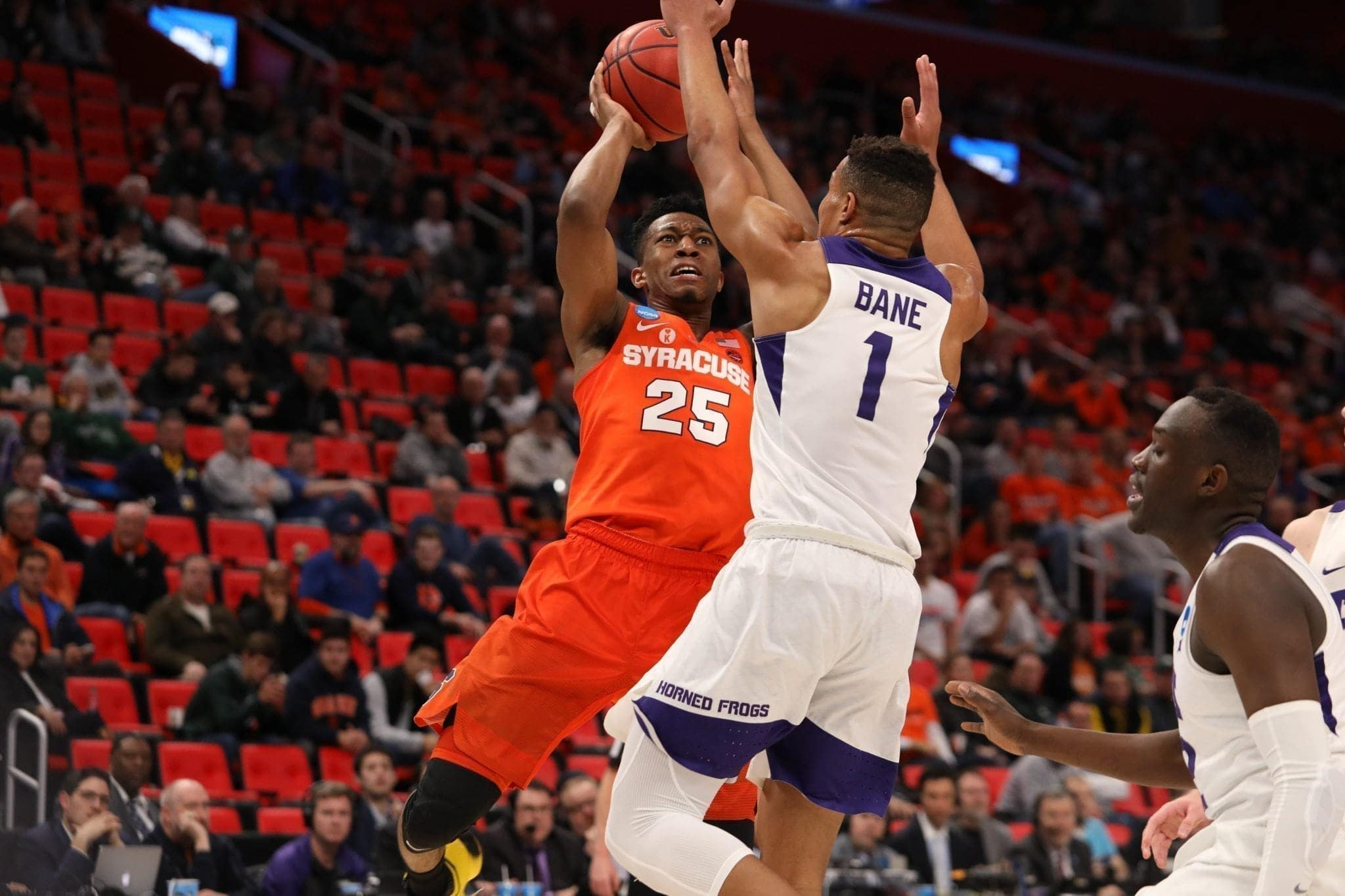 Guard Tyus Battle goes up for a shot over Texas Christian's Bane in SU's opening round NCAA tournament win.