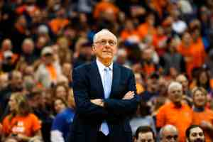 Jim Boeheim during the SU-Georgia Tech game in the Carrier Dome on March 4, 2017