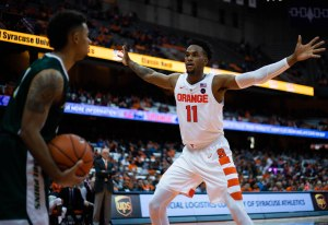 Oshae Brissett guards a Le Moyne inbounds pass. The Orange forced 26 turnovers.