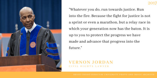 Vernon Jordan delivers 2017 commencement address