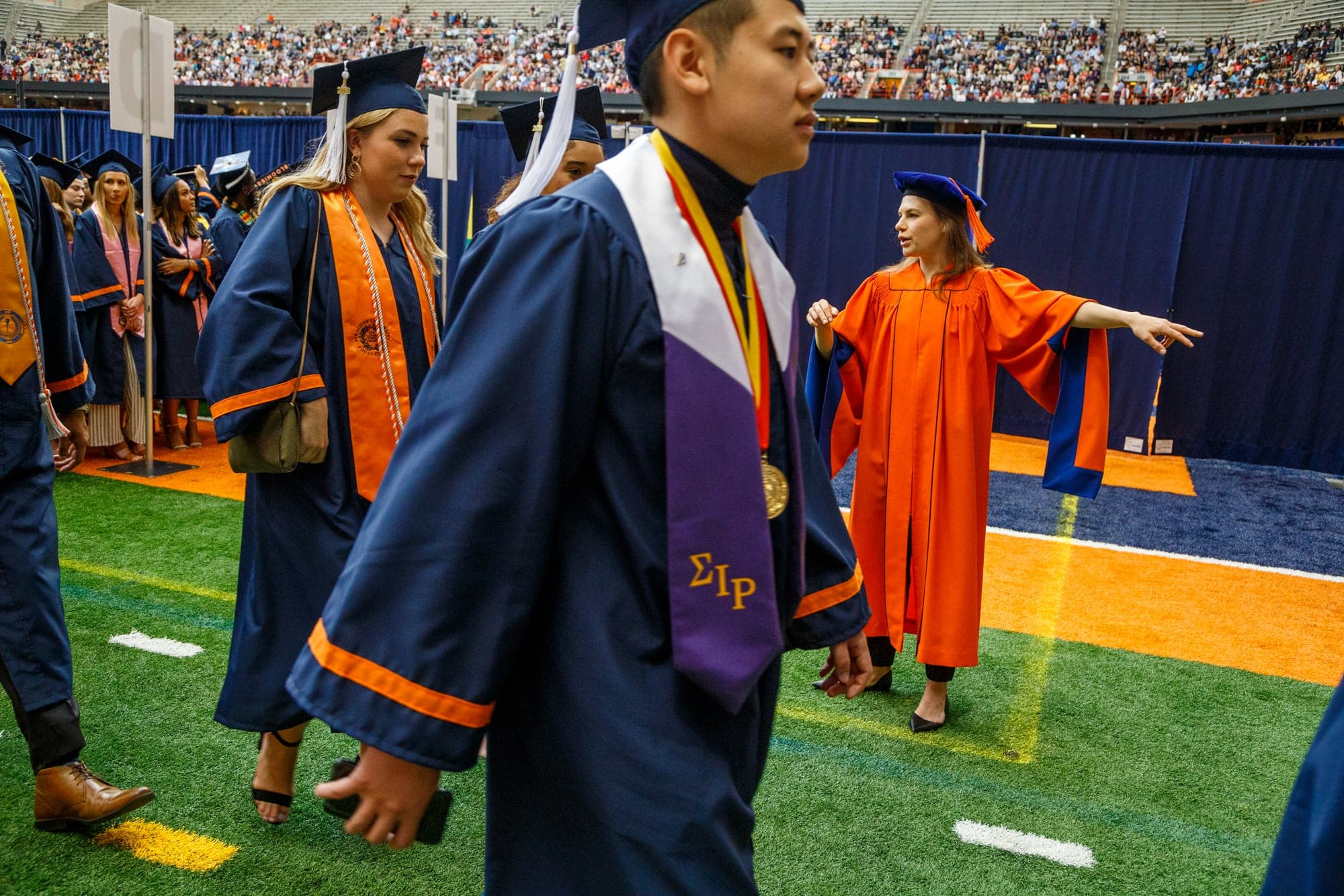 Students walking out at commencement