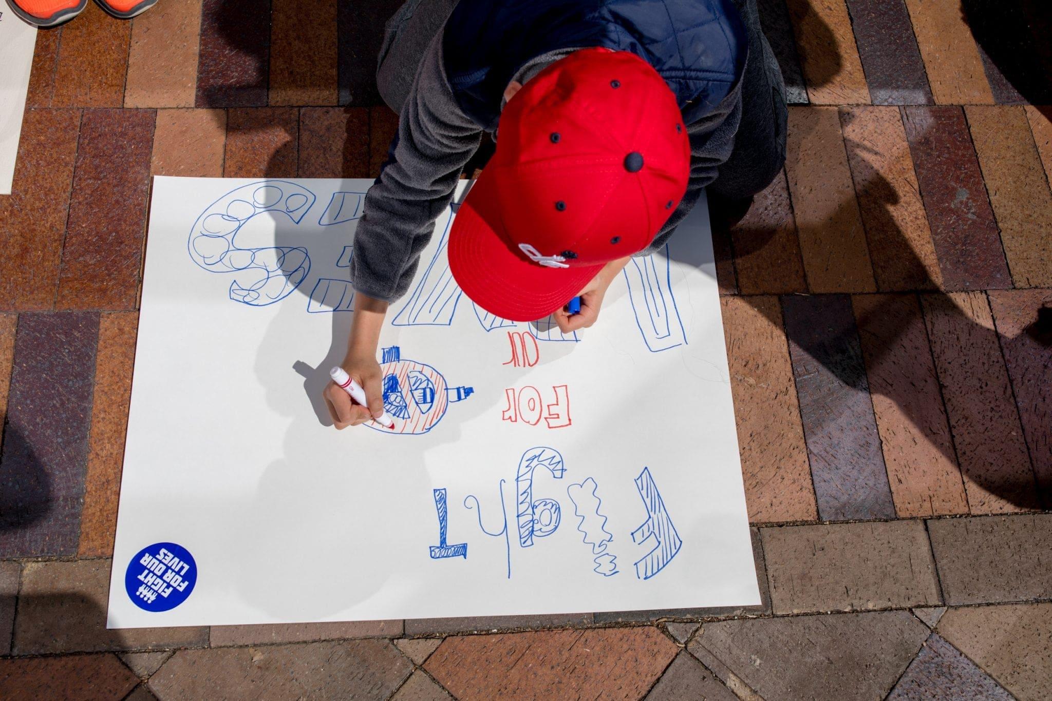 Participant makes sign