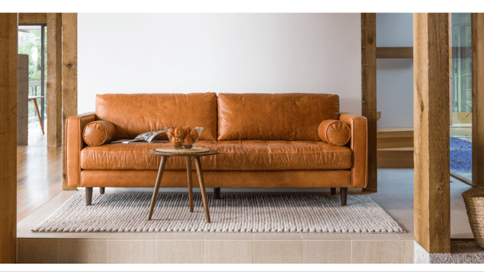 HomeStyle   Favorite Brown Leather Sofa