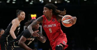 BROOKLYN, NY - MAY 29: Crystal Bradford #9 of the Atlanta Dream drives to the basket against the New York Liberty on May 29, 2021 at Barclays Center in Brooklyn, New York. (Photo by Steven Freeman/NBAE via Getty Images)