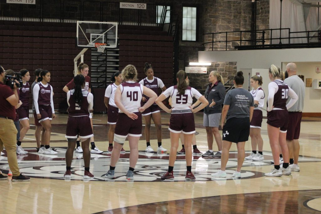 The Rams gather after a summer practice. (Photo credit: Fordham Athletics)