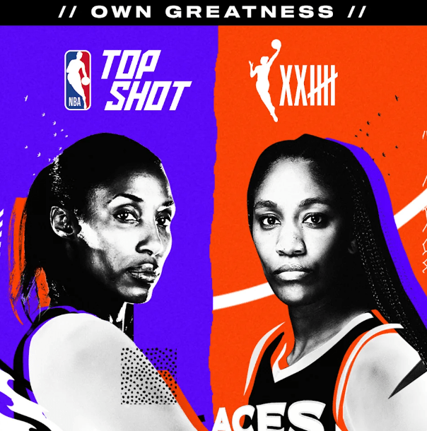 Lisa Leslie and A'ja Wilson are featured in Top Shot promotional materials. Source: Yahoo Sports NBA Twitter Page