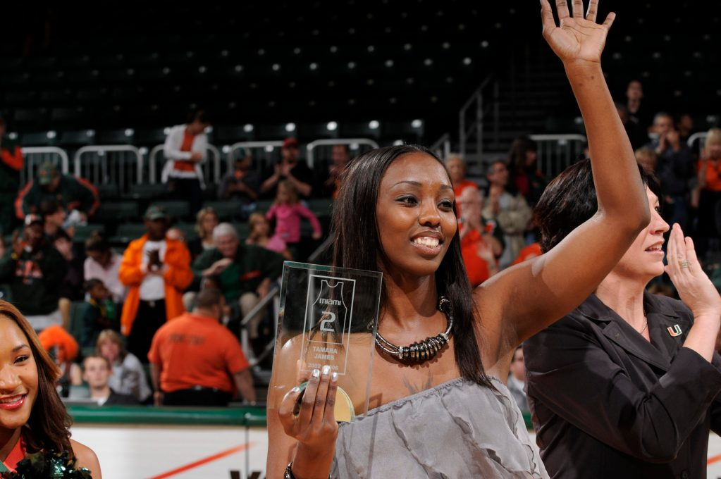 Tamara James waves to the crowd during her jersey retirement ceremony at the University of Miami on Dec. 30, 2010. (Photo credit: Miami Athletics)