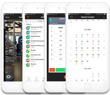 Compilation of iPhone screenshots depicting the TeamBuildr app UI with EZ Workout Plans
