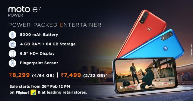 Motorola Launches Moto e7 Power Debut Release in India