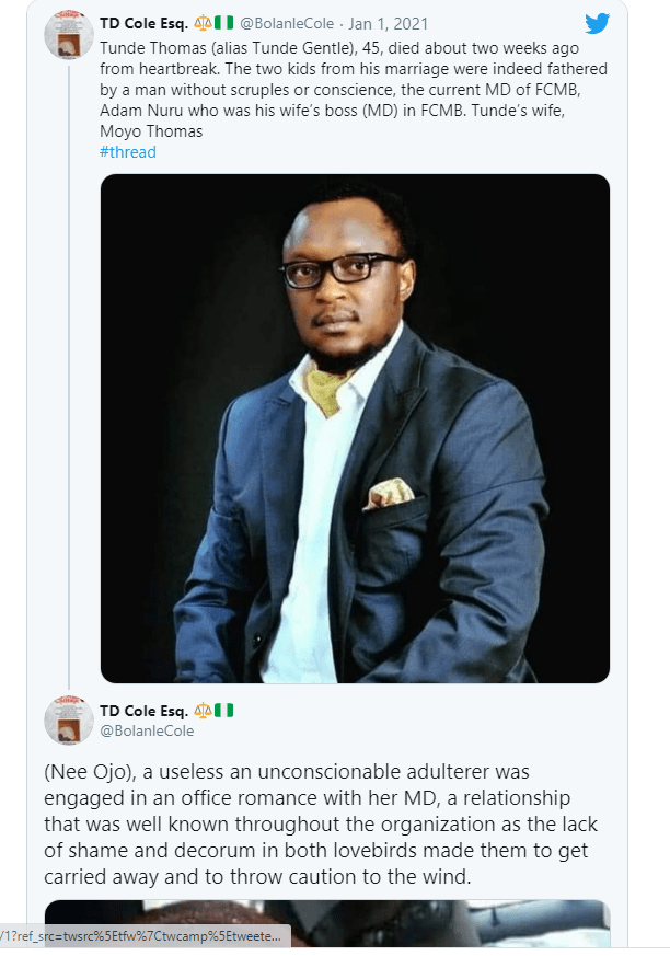 Nigerian Banker Dies after discovering his Two Children Belong To The Managing Director Of FCMB