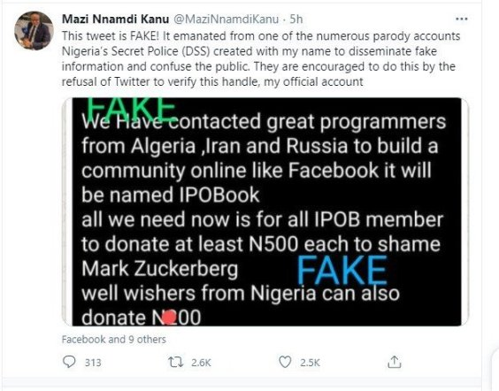 Nnamdi kanu speaks on the alleged building of IPOBook, a social media like Facebook photos