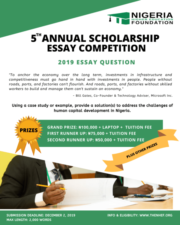 NHEF Scholarship Essay Competition 2019 for Nigerian Students