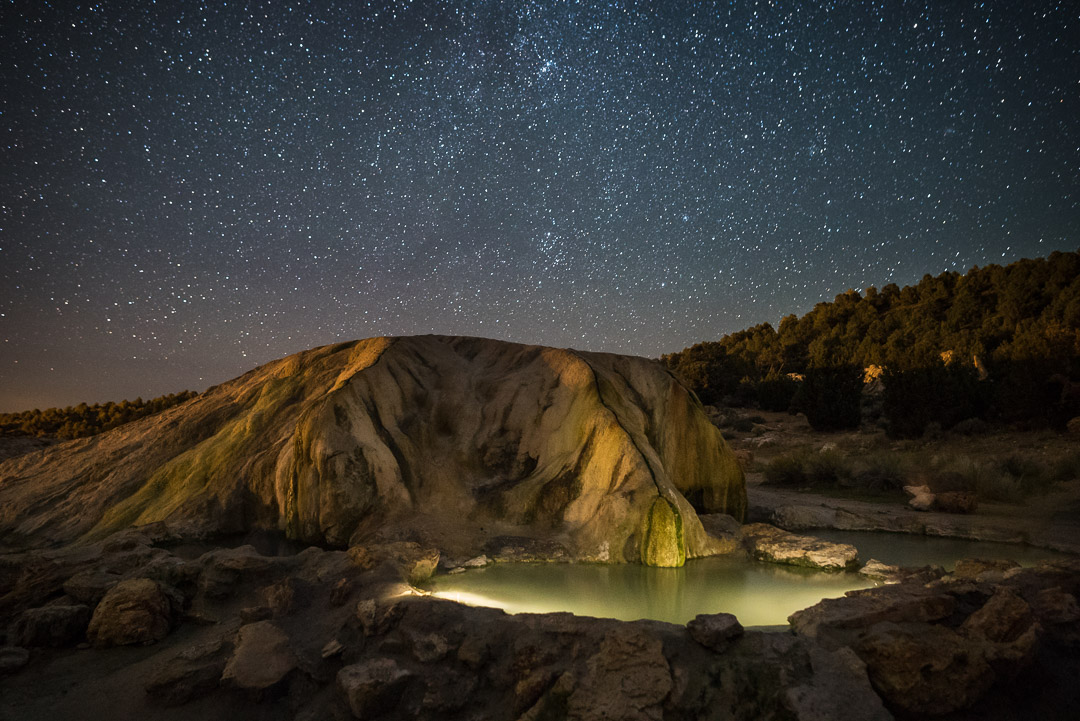 Travertine Hot Springs at night