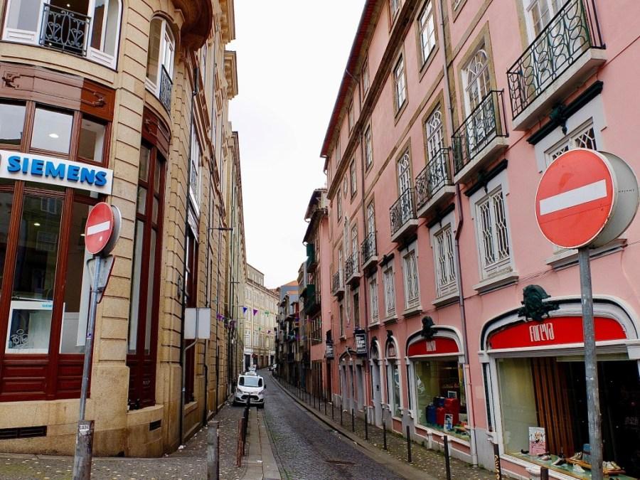 pink alleyway in porto