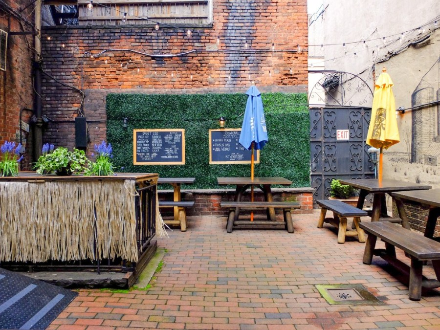 backyard patio at bar in NYC